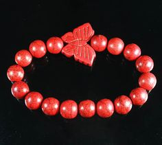 Z462 Howlite Turquoise Bright Red Butterfly Red Ball Bead Stretch Bracelet