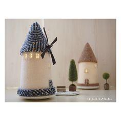 「風車の村の家ランプ」 風車の部分がなかなか上手く行きません。もう少し工夫しなくては… * * * #フェルト #フェルト雑貨 #羊毛建築 #羊毛フェルト作品 #wetfelt #クラフト #craft #手作り #handmade #手仕事 #明かり#インテリア #家 #風車 #windmill #オーブン陶土 #トピアリー #chikuchikubanban