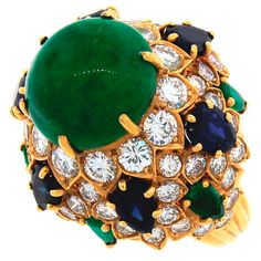 A great cocktail ring is a School of Flaunt must have! Emerald, Sapphire, Diamond & Yellow Gold Cocktail Ring