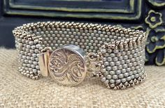 Peyote Stitch Bracelet ~ Statement Country Silver Cuff ~ Sterling Silver Clasp ~Seed Bead Beauty~ Peyote Chic by Country Chic Charms