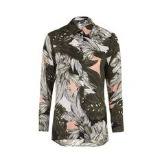TopShop Oversized Palm Print Shirt ($56) ❤ liked on Polyvore featuring tops, blush, oversized button up shirt, slouchy shirt, pattern shirt, button down shirt and palm tree shirt