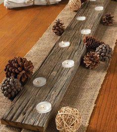 Rustic wooden votive Menorah with pinecones