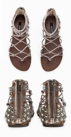 Boho Studded Gladiator Sandals Loving the Detail on Cute Sandals, Cute Shoes, Me Too Shoes, Shoes Sandals, Flat Sandals, Boho Sandals, Pretty Shoes, Studded Sandals, Gladiator Sandals