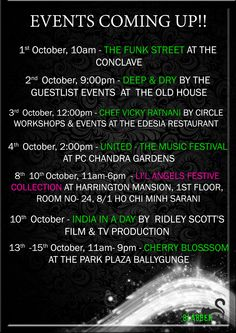 The Event Listing is Up for October!! The festive season has begun and exhibitions are around.. Grab your outfit before the stocks are over.. Learn great food for puja's and don't forget to party hard!! Circle Workshops & Events United The Old House - Kolkata CHERRY BLOSSOM @li'l angels India In A Day  #drama #exhibition #party #nikhilchinapa #loststories #clothes #shopping #food #vickyratnani #documentary #vlogging #stories #events #meow