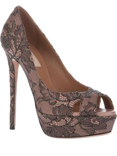 Valentino lace pumps. Take a look at them on zoom. Tiniest bit of metallic.