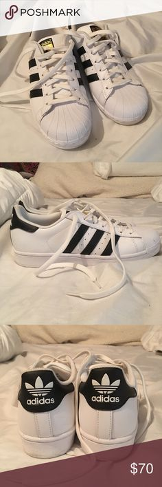 Adidas Stan Smith Superstar Sneakers Black & white original Adidas Stan Smith Superstar's. Purchased from Urban Outfitters. Worn once for about an hour, just not my style! Almost brand new. US Men's 8 (I wear a women's 10 for reference!) Adidas Shoes Sneakers