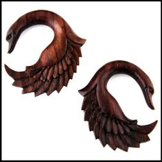 PAIR 0g 8mm swan sono organic wood hand carved ear by jewelryvolt, $19.99 I like this color better