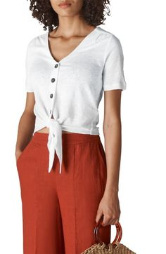 online shopping for Whistles Tie Hem Linen Top from top store. See new offer for Whistles Tie Hem Linen Top Whistles Tops, Ladies Day, Nordstrom, Plus Size, Clothes For Women, Tie, John Lewis, Summer Europe, Fashion Women