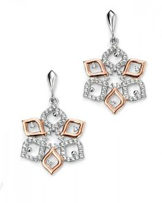 Sterling Silver Rose Gold Plated CZ Flower Earrings images