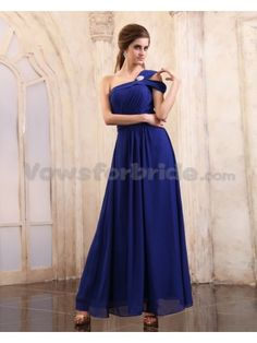 Chiffon One-Shoulder Ankle-Length A-Line Evening Dress
