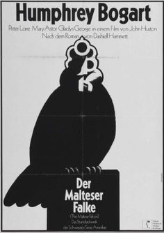 Movie poster by Hans Hillmann for the German screening of The Maltese Falcon by Neue Filmkunst Walter Kirchner. Poster x Humphrey Bogart, Movie Poster Font, Movie Posters, Poster Fonts, Maltese Falcon Movie, German A1, The Big Read, Film Images, Malteser