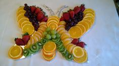 Made this butterfly shaped fruit tray for my daughter's baby shower that was butterfly themed! Was simple yet attractive. Picture only- no recipe or directions.