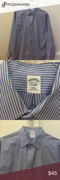Brooks Brothers men's slim fit dress shirt Blue and white pinstripe non-iron, slim fit dress shirt Brooks Brothers Shirts Dress Shirts