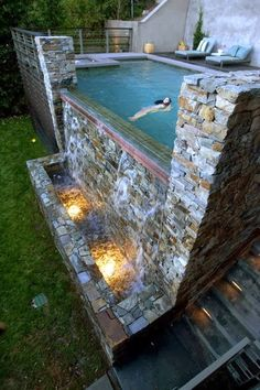 Infinity Pool Waterfall -- Curated by: Aqua Trends Pool & Spa Infinity Pools, Infinity Pool Backyard, Backyard Patio, Backyard Ideas, Modern Backyard, Pool Spa, Pool Water, Amazing Swimming Pools, Awesome Pools