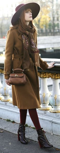 Wonderful trench coat style + warming autumnal colours + burgundy, maroon, and brown + Louise Ebel + stray away from classic spring colours + bring the best of autumn back Coat: Gérard Darel, Dress: Pablo, Bag: Ralph Lauren, Hat: Tand3m, Boots: Kurt Geiger.