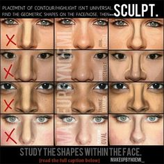 nose contouring (before and after) for different nose shapes -- get a nose job without surgery!
