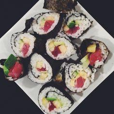 Who's that making that sushi roll? IT'S ME. IT'S ME.   #vsco #vscocam #sushi #sushiroll #tuna #yum #christmas #christmaseve #christmasfeast #delish #yum