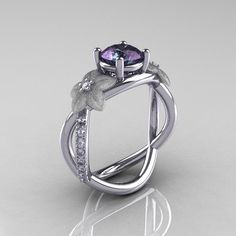 Alexandrite Diamond Leaf and Vine Engagement Ring (Diamonds and my birthstone. So much yes!)
