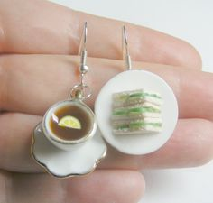 Lemon Tea and Cucumber Sandwiches Miniature Food Earrings