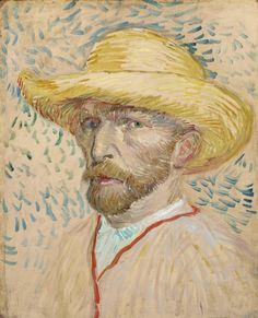 Self-Portrait with Straw Hat by Vincent Van Gogh, oil painting on cardboard fine art poster Vincent Van Gogh, Van Gogh Museum, Art Museum, Pink Canvas Art, Oil On Canvas, Canvas Size, Van Gogh Pinturas, Van Gogh Self Portrait, Van Gogh Portraits