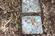 Seashell stepping stones...great way to use up shells collected from a beach vacation! @Buzzmills