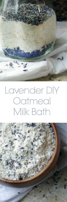 DIY Lavender Oatmeal Milk Bath to Sooth Dry Skin Naturally and Relax your Mind and Body.