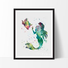 Ariel, Little Mermaid Nursery Art Wall Decor Print - VIVIDEDITIONS