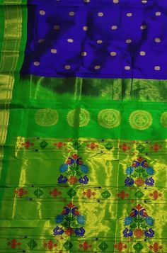 Buy online Blue Handloom Paithani Pure Silk Saree With Peacock Design Pallu Online.Shop more Handloom Paithani Saree With Peacock Design Pallu at Luxurionworld. Kuppadam Pattu Sarees, Crepe Silk Sarees, Pure Silk Sarees, Handloom Saree, Lehenga Choli, Indian Sarees, Saree Blouse Neck Designs, Blouse Designs, Wedding Silk Saree