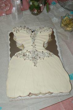 Cupcake Wedding Dress Cake that matches bride's Dress. Bridal Shower Cake!
