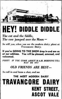Travancore Dairy advertisement Flemington Racecourse, Ascot Vale, Melbourne Victoria, Over The Moon, Old Photos, Dairy, Australia, History, Vintage