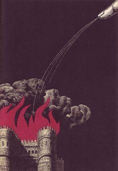 "Illustration for Jonathan Swift's ""Gulliverovy Cesty"" (Gulliver's Travels) by Czech artist and illustrator Bohumil Stepan via 50 watts Prague Spring, Gulliver's Travels, Prague Travel, Virtual Art, Type Posters, Book Illustration, Illustrations, Surrealism, Book Art"