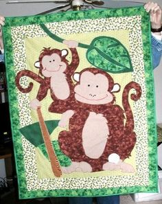 Another pinner wrote......Monkey quilt from a pattern I altered. Momma plays softball.