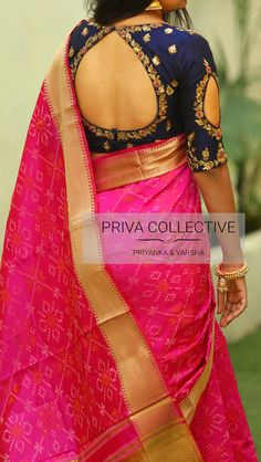 PV 3816 : Pink and BluePrice : elegance in this beautiful sari. Pink benarasi silk in ikkat print is finished with rich golden zari Unstitched blouse piece : Navy blue zardosi and thread maggam blouse piece as in the pictureFor Order 05 August 2018 Pattu Saree Blouse Designs, Blouse Designs Silk, Designer Blouse Patterns, Bridal Blouse Designs, Golden Blouse Designs, Pink Saree Blouse, Simple Blouse Designs, Stylish Blouse Design, Blouse Designs Catalogue