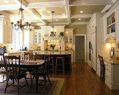 Traditional Kitchen Open Concept Kitchen Design, Pictures, Remodel, Decor and Ideas - page 16 Traditional Kitchen, Traditional House, Traditional Design, New Kitchen, Kitchen Decor, Kitchen Dining, Kitchen Cabinets, Kitchen White, Kitchen Paint