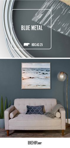 Looking for a bold and moody wall color for your DIY living room makeover project? Start with a new coat of Behr Paint i. Looking for a bold and moody wall color for your DIY living room makeover project? Start with a new coat of Behr Paint i. Behr Paint Colors, Bedroom Paint Colors, Paint Colors For Living Room, Interior Paint Colors, Paint Colors For Home, House Colors, Behr Exterior Paint Colors, Blue Living Room Walls, Blue Room Paint