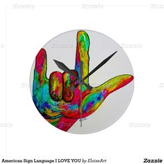 American Sign Language I LOVE YOU Round Clock