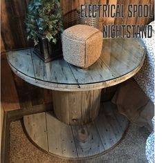 A Vision to Remember All Things Handmade Blog: Wooden Electrical Spool Table Turned into a Bedside Nightstand