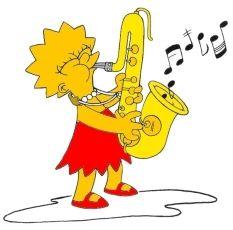 Exemplo de disfraz musical: Lisa Simpson toca un instrumento de VENTO