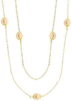 bdbd89eae83 Gargantilha folheada a ouro c  pérolas acrílicas de 10 mm (corrente longa -  sem