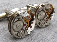 Steampunk Cufflinks with small round vintage watch by HotTime, $28.00