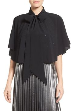 Free shipping and returns on Halogen® Embellished Cape at Nordstrom.com. Tiny tonal crystals sparkle along a lightweight cape that ties at the neck for simple, elegant layering.