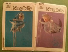 Vintage Simplicity #6874 & #6875-Matching Nursery Decor Dolls-ca. 1985-NEW     these #two #adorable #vintage #Simplicity6874and6875 #sewingpatterns #make a #set of #matching #angelic #childrens #nursery #decor #dolls with #moon and #star theme. #buy them #today and #make your #newArrival feel #veryWelcome indeed!