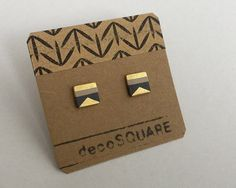Square stud porcelain earrings toffee black 24k gold by decoSQUARE