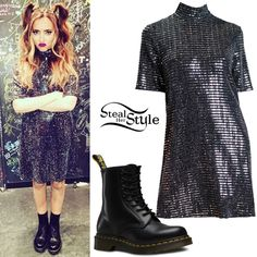 Jade Thirlwall posted a picture today wearing an Oh My Love Disco Ball High Neck Tshirt Dress ($67.64) and a pair of Dr. Martens 1460 Boots ($125.00).