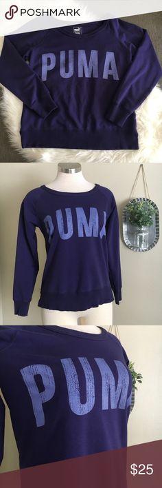 Puma Purple Crew Sweatshirt Puma Purple Crew Sweatshirt in excellent condition! 68% cotton, 25% polyester, 7% elastane.  No trades. Offers welcome. Puma Sweaters