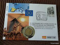 """España, numisbrief"""" 400 años Miguel de Cervantes' """", 2-euro 2005 (99)"""