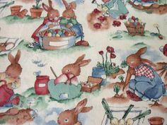 Peter Rabbit Fabric The Easter Garden 1995 Release Alexander