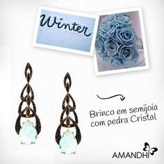 O brinco de pedra cristal é elegante e perfeito para ocasiões especiais | Amandhí | www.amandhi.com |