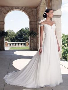A-Line Princess Sweetheart Off the Shoulder Cap Sleeve Non-Strapless Chiffon Elastic Silk-like Satin Wedding Dress