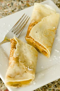 "A crêpe or crepe is a type of very thin pancake, usually made from wheat flour (crêpes de Froment) or buckwheat flour (galettes). The word is of French origin, deriving from the Latin crispa, meaning ""curled"". While crêpes originate from Brittany, a region in the northwest of France, their consumption is widespread in France and Quebec."